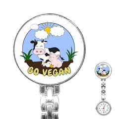 Friends Not Food   Cute Cow, Pig And Chicken Stainless Steel Nurses Watch by Valentinaart