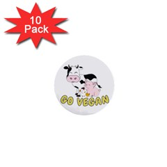 Friends Not Food   Cute Cow, Pig And Chicken 1  Mini Buttons (10 Pack)  by Valentinaart