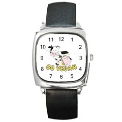 Friends Not Food   Cute Cow, Pig And Chicken Square Metal Watch by Valentinaart
