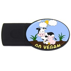 Friends Not Food   Cute Cow, Pig And Chicken Usb Flash Drive Oval (4 Gb) by Valentinaart