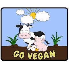 Friends Not Food   Cute Cow, Pig And Chicken Fleece Blanket (medium)  by Valentinaart