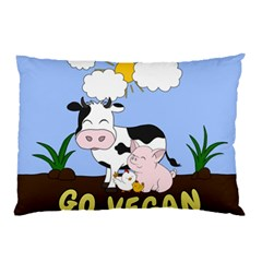 Friends Not Food   Cute Cow, Pig And Chicken Pillow Case (two Sides) by Valentinaart