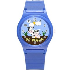 Friends Not Food   Cute Cow, Pig And Chicken Round Plastic Sport Watch (s)