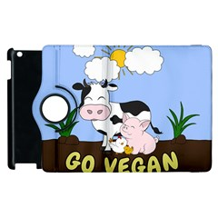 Friends Not Food   Cute Cow, Pig And Chicken Apple Ipad 3/4 Flip 360 Case by Valentinaart