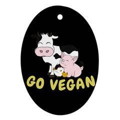 Friends Not Food   Cute Cow, Pig And Chicken Ornament (oval) by Valentinaart