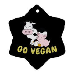 Friends Not Food   Cute Cow, Pig And Chicken Ornament (snowflake) by Valentinaart