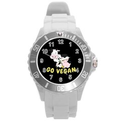 Friends Not Food   Cute Cow, Pig And Chicken Round Plastic Sport Watch (l) by Valentinaart