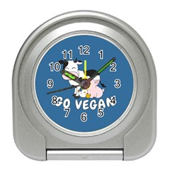 Friends Not Food   Cute Cow, Pig And Chicken Travel Alarm Clocks by Valentinaart