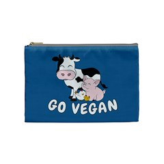 Friends Not Food   Cute Cow, Pig And Chicken Cosmetic Bag (medium)  by Valentinaart
