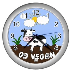 Friends Not Food   Cute Cow Wall Clocks (silver)  by Valentinaart