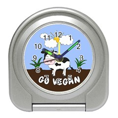 Friends Not Food   Cute Cow Travel Alarm Clocks by Valentinaart