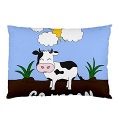 Friends Not Food   Cute Cow Pillow Case (two Sides) by Valentinaart
