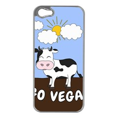 Friends Not Food   Cute Cow Apple Iphone 5 Case (silver) by Valentinaart