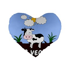 Friends Not Food   Cute Cow Standard 16  Premium Flano Heart Shape Cushions by Valentinaart
