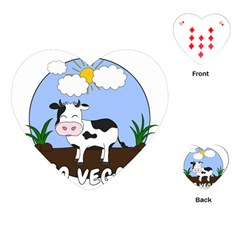 Friends Not Food   Cute Cow Playing Cards (heart)  by Valentinaart