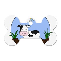 Friends Not Food   Cute Cow Dog Tag Bone (two Sides) by Valentinaart