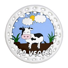 Friends Not Food   Cute Cow Round Filigree Ornament (two Sides) by Valentinaart