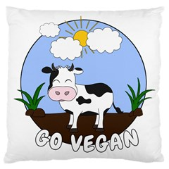 Friends Not Food   Cute Cow Large Cushion Case (two Sides) by Valentinaart