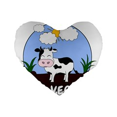 Friends Not Food   Cute Cow Standard 16  Premium Heart Shape Cushions by Valentinaart