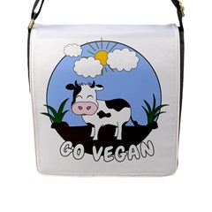 Friends Not Food   Cute Cow Flap Messenger Bag (l)  by Valentinaart