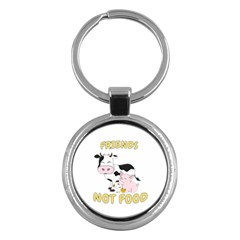 Friends Not Food   Cute Cow, Pig And Chicken Key Chains (round)  by Valentinaart