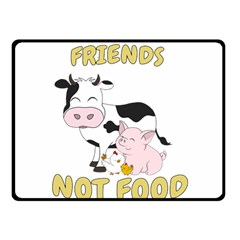 Friends Not Food   Cute Cow, Pig And Chicken Fleece Blanket (small) by Valentinaart