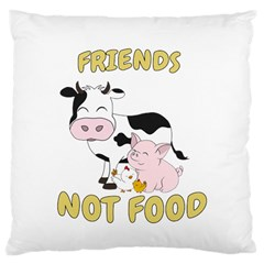 Friends Not Food   Cute Cow, Pig And Chicken Large Cushion Case (one Side) by Valentinaart