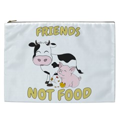 Friends Not Food   Cute Cow, Pig And Chicken Cosmetic Bag (xxl)  by Valentinaart