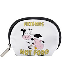 Friends Not Food   Cute Cow, Pig And Chicken Accessory Pouches (small)  by Valentinaart