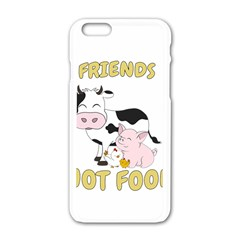 Friends Not Food   Cute Cow, Pig And Chicken Apple Iphone 6/6s White Enamel Case by Valentinaart
