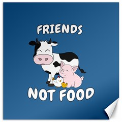 Friends Not Food   Cute Cow, Pig And Chicken Canvas 20  X 20   by Valentinaart
