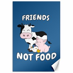 Friends Not Food   Cute Cow, Pig And Chicken Canvas 20  X 30   by Valentinaart