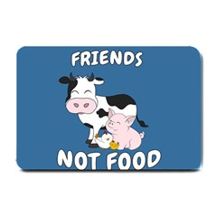 Friends Not Food   Cute Cow, Pig And Chicken Small Doormat  by Valentinaart