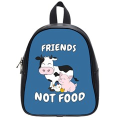 Friends Not Food   Cute Cow, Pig And Chicken School Bag (small) by Valentinaart