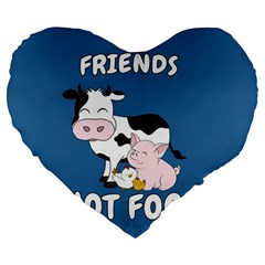 Friends Not Food   Cute Cow, Pig And Chicken Large 19  Premium Flano Heart Shape Cushions by Valentinaart
