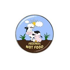Friends Not Food   Cute Cow, Pig And Chicken Hat Clip Ball Marker (4 Pack) by Valentinaart