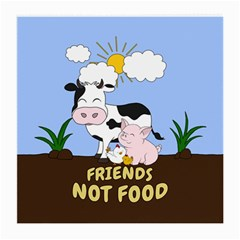 Friends Not Food   Cute Cow, Pig And Chicken Medium Glasses Cloth by Valentinaart