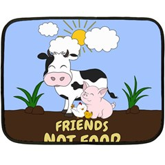 Friends Not Food   Cute Cow, Pig And Chicken Double Sided Fleece Blanket (mini)  by Valentinaart