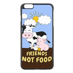 Friends Not Food   Cute Cow, Pig And Chicken Apple Iphone 6 Plus/6s Plus Black Enamel Case by Valentinaart