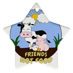 Friends Not Food   Cute Cow, Pig And Chicken Ornament (star) by Valentinaart