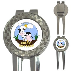 Friends Not Food   Cute Cow, Pig And Chicken 3 In 1 Golf Divots by Valentinaart