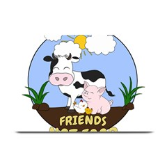 Friends Not Food   Cute Cow, Pig And Chicken Plate Mats by Valentinaart