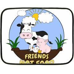 Friends Not Food   Cute Cow, Pig And Chicken Fleece Blanket (mini) by Valentinaart