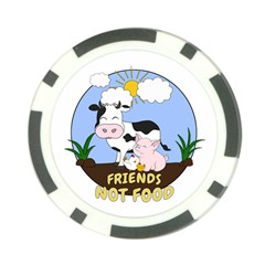 Friends Not Food   Cute Cow, Pig And Chicken Poker Chip Card Guard (10 Pack) by Valentinaart