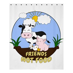 Friends Not Food   Cute Cow, Pig And Chicken Shower Curtain 60  X 72  (medium)  by Valentinaart