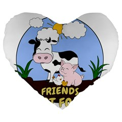 Friends Not Food   Cute Cow, Pig And Chicken Large 19  Premium Heart Shape Cushions by Valentinaart
