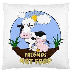 Friends Not Food   Cute Cow, Pig And Chicken Standard Flano Cushion Case (one Side) by Valentinaart
