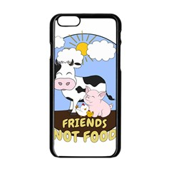 Friends Not Food   Cute Cow, Pig And Chicken Apple Iphone 6/6s Black Enamel Case by Valentinaart