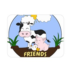 Friends Not Food   Cute Cow, Pig And Chicken Double Sided Flano Blanket (mini)  by Valentinaart