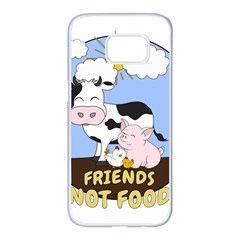 Friends Not Food   Cute Cow, Pig And Chicken Samsung Galaxy S7 Edge White Seamless Case by Valentinaart